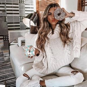Sweaters - Just In ❄️White Crop Knitted Sweater